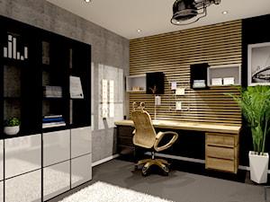 Nowoczesny pokój biurowy - Średnie czarne szare biuro domowe w pokoju, styl nowoczesny - zdjęcie od Projekty Wnętrz DOYS