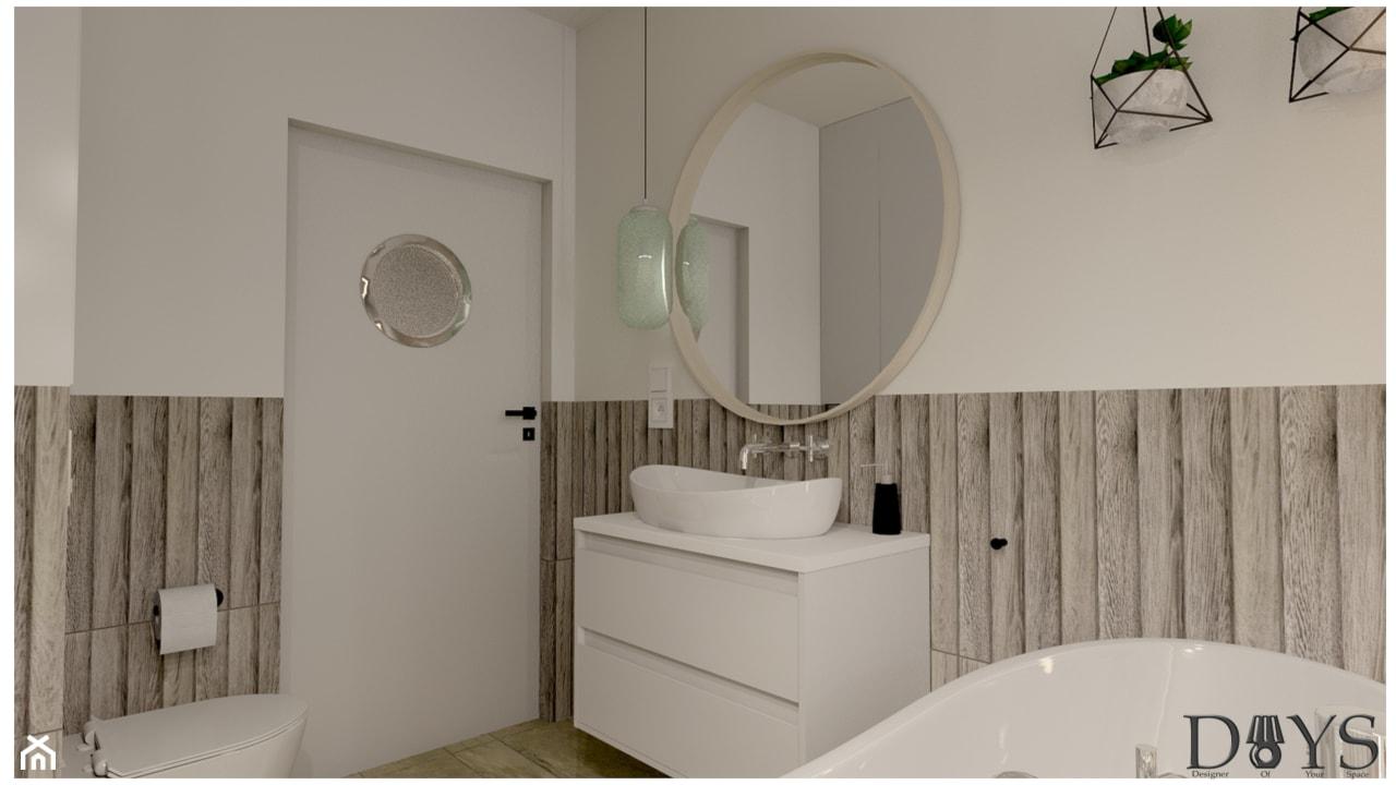 Mieszkanie 78m2 - Średnia biała łazienka w bloku w domu jednorodzinnym bez okna, styl nowoczesny - zdjęcie od Projekty Wnętrz DOYS - Homebook