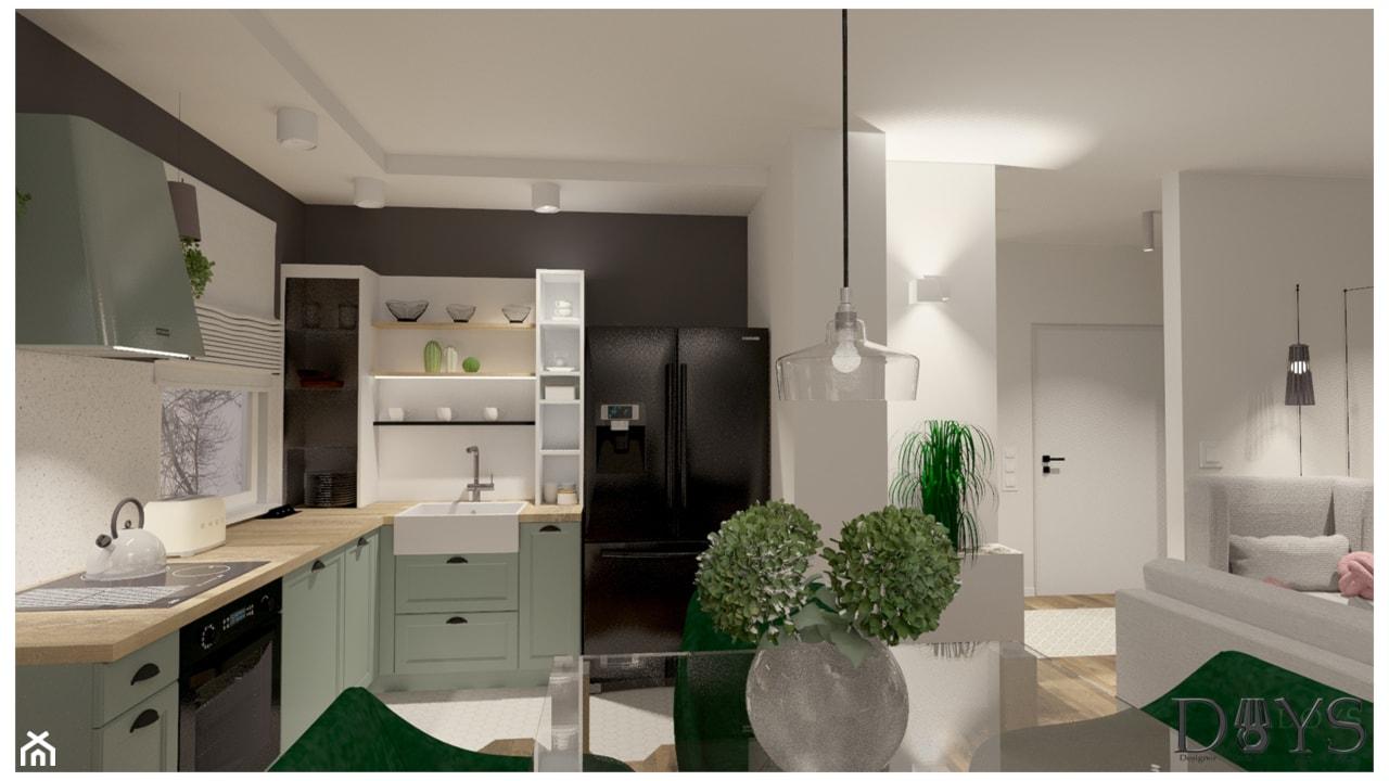 Mieszkanie 78m2 - Średnia otwarta biała kuchnia w kształcie litery l w aneksie z oknem, styl klasyczny - zdjęcie od Projekty Wnętrz DOYS - Homebook