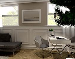 Pokój biurowy - Średnie beżowe białe biuro domowe w pokoju, styl nowojorski - zdjęcie od Projekty Wnętrz DOYS