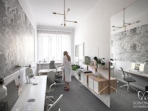 Małe biuro z dużym lustrem - zdjęcie od Sobkowiak Architektura