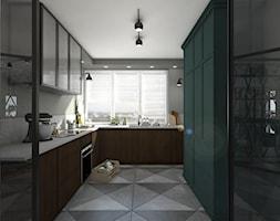 Wnętrze w stylu retro w sercu Warszawy - Duża zamknięta szara kuchnia w kształcie litery u z oknem, styl eklektyczny - zdjęcie od Sobkowiak Architektura - Homebook