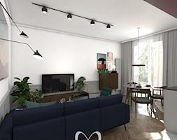 Colourful 50's - Średni szary biały salon z kuchnią z jadalnią, styl eklektyczny - zdjęcie od Sobkowiak Architektura