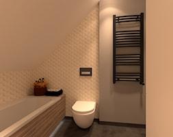 Mała łazienka z dużym skośnm dachem - zdjęcie od Merlin Pastel - Projektowanie Wnętrz