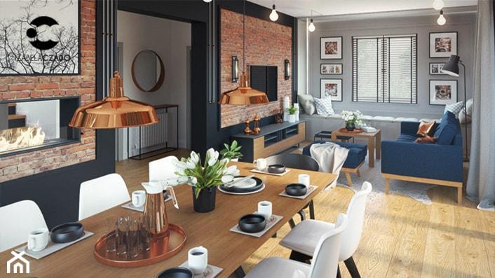 Salon z kuchnią i jadalnią w stylu loftowym - zdjęcie od ProjecTOWN Izabela Czado