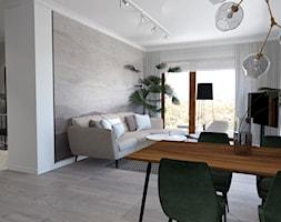 Mieszkanie ZEN - Średni szary biały salon z jadalnią - zdjęcie od ALMINAS WNĘTRZA - Homebook