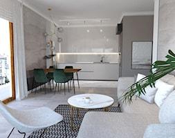 Mieszkanie ZEN - Średni szary salon z kuchnią z jadalnią - zdjęcie od ALMINAS WNĘTRZA - Homebook