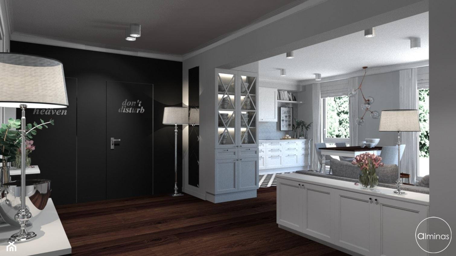 Klasyczna elegancja - Mały szary czarny salon, styl klasyczny - zdjęcie od ALMINAS WNĘTRZA - Homebook
