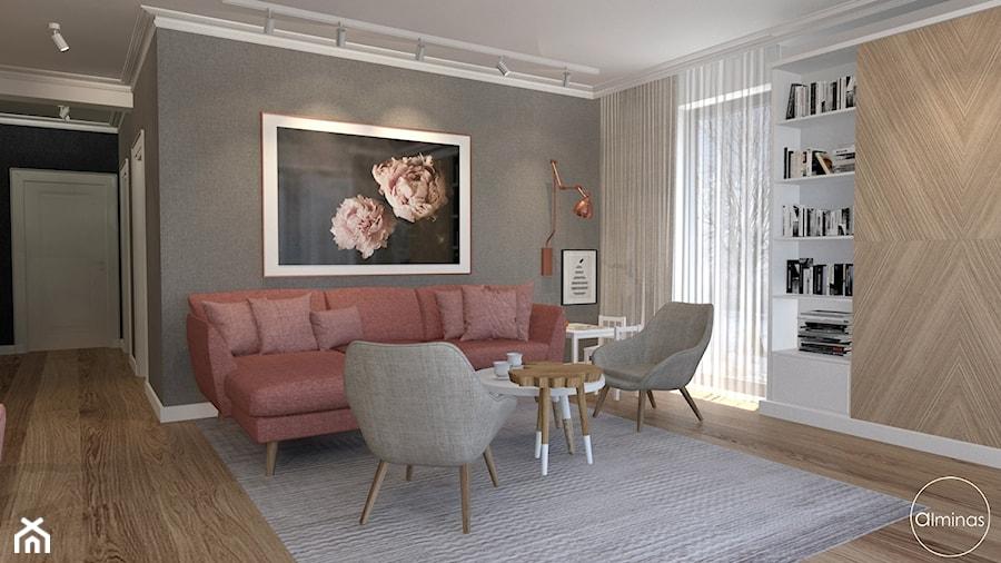 Aranżacje wnętrz - Salon: Skandynawski w ciepłym różem paryskim - Średni szary salon, styl skandynawski - ALMINAS WNĘTRZA. Przeglądaj, dodawaj i zapisuj najlepsze zdjęcia, pomysły i inspiracje designerskie. W bazie mamy już prawie milion fotografii!