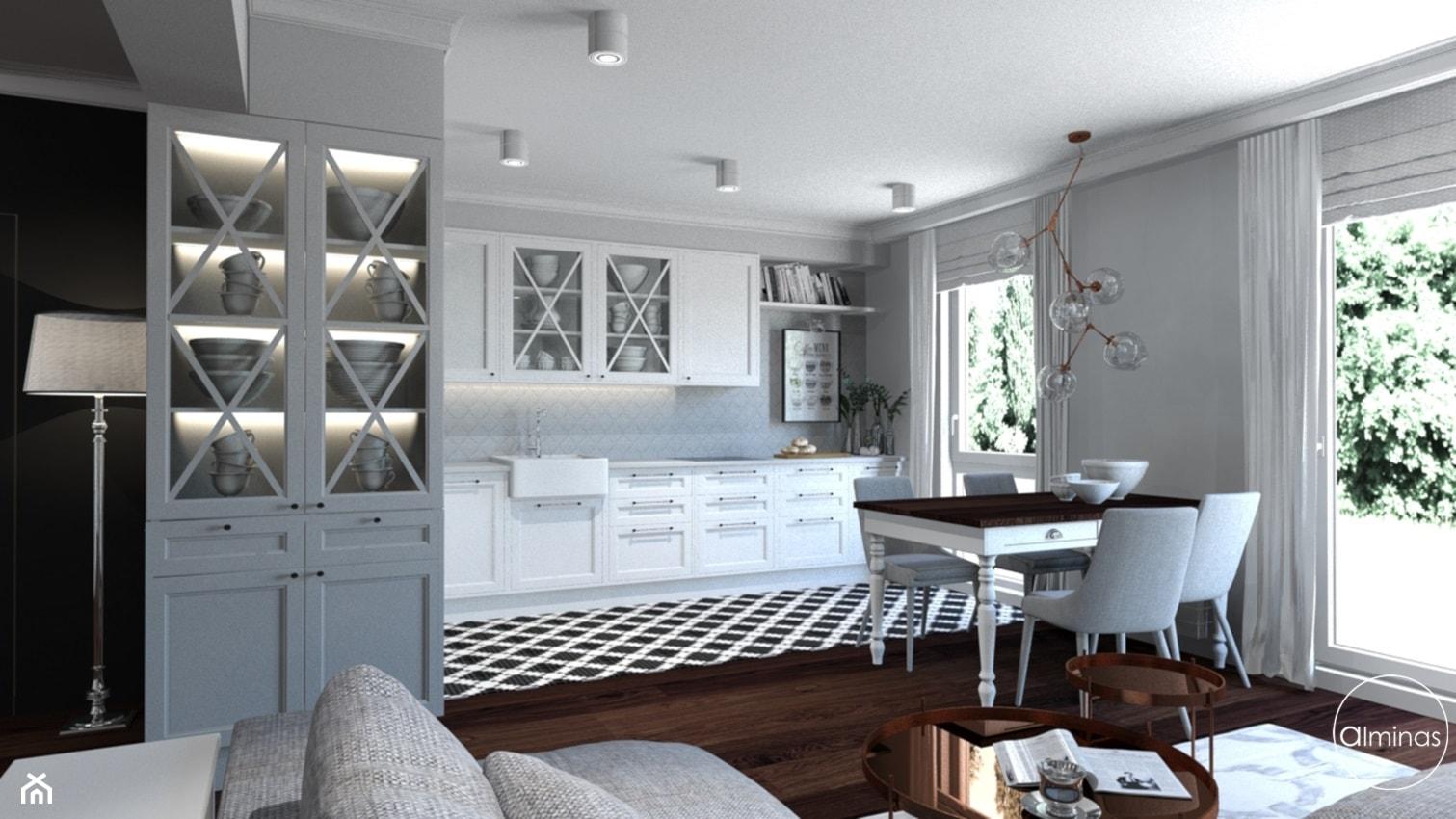Klasyczna elegancja - Duża otwarta szara kuchnia jednorzędowa w aneksie z oknem, styl klasyczny - zdjęcie od ALMINAS WNĘTRZA - Homebook