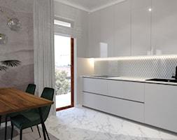 Mieszkanie ZEN - Średnia otwarta biała kuchnia jednorzędowa w aneksie z oknem - zdjęcie od ALMINAS WNĘTRZA - Homebook