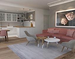 Skandynawski w ciepłym różem paryskim - Duży szary salon z kuchnią z jadalnią, styl skandynawski - zdjęcie od ALMINAS WNĘTRZA