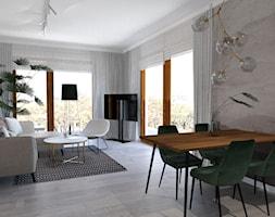 Mieszkanie ZEN - Duży szary salon z jadalnią - zdjęcie od ALMINAS WNĘTRZA - Homebook