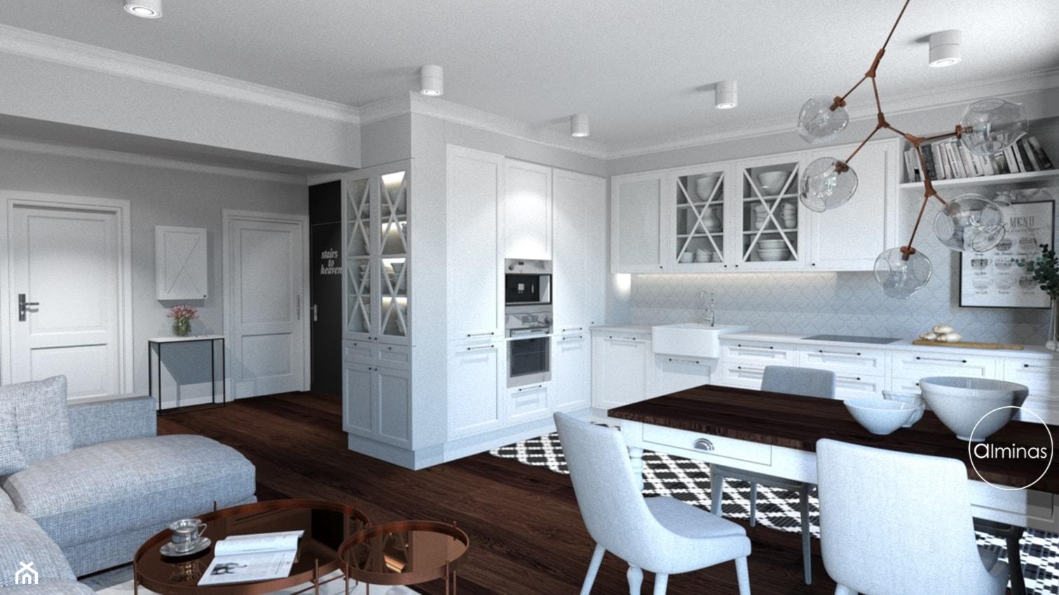Klasyczna elegancja - Mały szary salon z kuchnią z jadalnią, styl klasyczny - zdjęcie od ALMINAS WNĘTRZA - Homebook