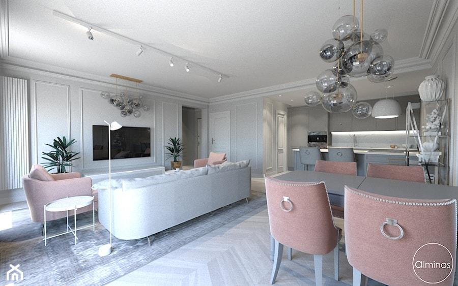Róż Paryski delikatność i kobiecość - Duży szary salon z kuchnią z jadalnią, styl nowojorski - zdjęcie od ALMINAS WNĘTRZA