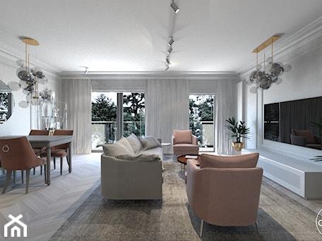 Aranżacje wnętrz - Salon: Róż Paryski delikatność i kobiecość - Duży szary salon z jadalnią z tarasem / balkonem, styl nowojorski - ALMINAS WNĘTRZA. Przeglądaj, dodawaj i zapisuj najlepsze zdjęcia, pomysły i inspiracje designerskie. W bazie mamy już prawie milion fotografii!