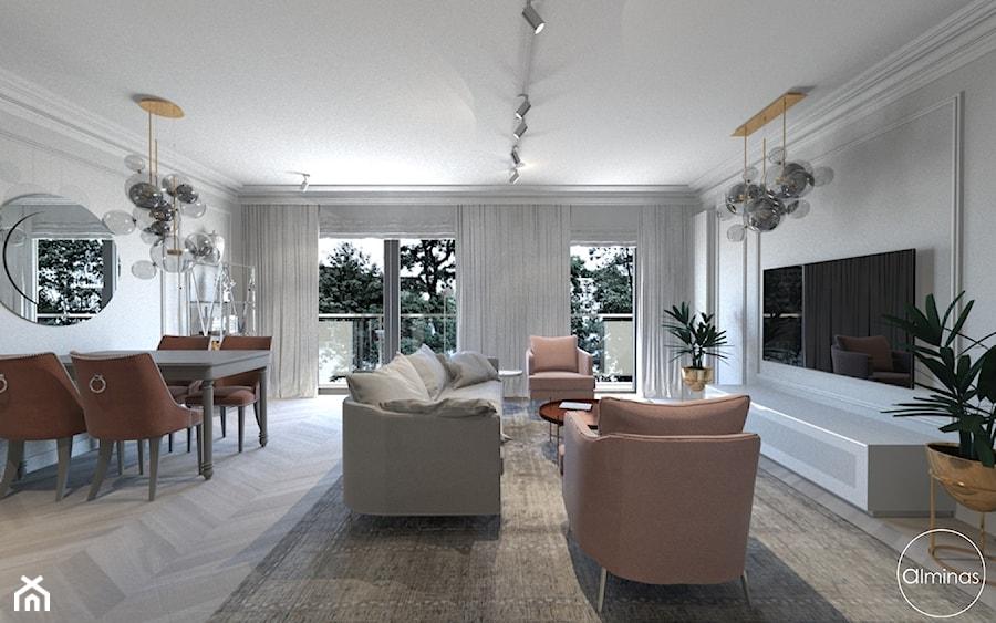Róż Paryski delikatność i kobiecość - Duży szary salon z jadalnią z tarasem / balkonem, styl nowojorski - zdjęcie od ALMINAS WNĘTRZA