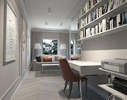 Róż Paryski delikatność i kobiecość - Średnie szare białe biuro kącik do pracy w pokoju, styl nowojorski - zdjęcie od ALMINAS WNĘTRZA