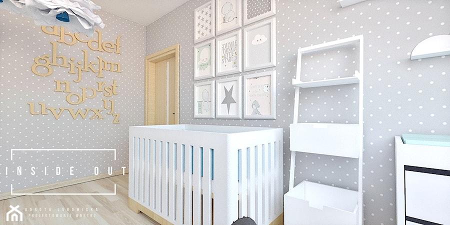 Aranżacje wnętrz - Pokój dziecka: Pokój dla noworodka - Mały szary pokój dziecka dla chłopca dla dziewczynki dla niemowlaka, styl skandynawski - INSIDE OUT Dorota Lubowicka Projektowanie Wnętrz. Przeglądaj, dodawaj i zapisuj najlepsze zdjęcia, pomysły i inspiracje designerskie. W bazie mamy już prawie milion fotografii!