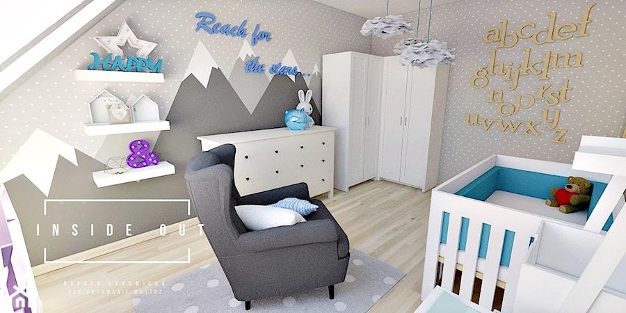 Pokój dla noworodka - Średni szary pokój dziecka dla chłopca dla dziewczynki dla niemowlaka, styl skandynawski - zdjęcie od INSIDE OUT Dorota Lubowicka Projektowanie Wnętrz