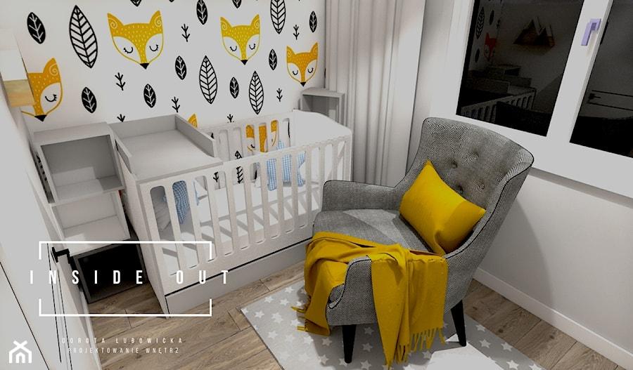 Mieszkanie na Osiedlu Maciejka v2 - Mały szary pokój dziecka dla chłopca dla dziewczynki dla niemowlaka, styl skandynawski - zdjęcie od INSIDE OUT Dorota Lubowicka Projektowanie Wnętrz