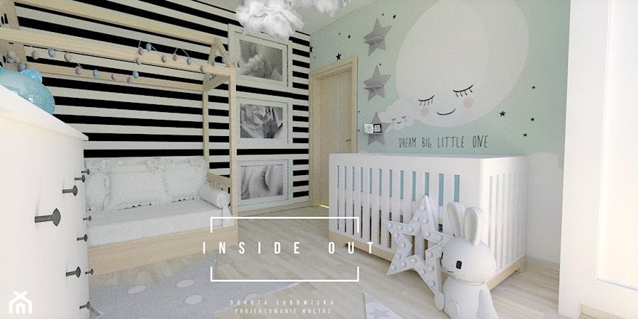 Aranżacje wnętrz - Pokój dziecka: Pokój dla noworodka - Średni szary zielony czarny pokój dziecka dla chłopca dla dziewczynki dla niemowlaka, styl skandynawski - INSIDE OUT Dorota Lubowicka Projektowanie Wnętrz. Przeglądaj, dodawaj i zapisuj najlepsze zdjęcia, pomysły i inspiracje designerskie. W bazie mamy już prawie milion fotografii!