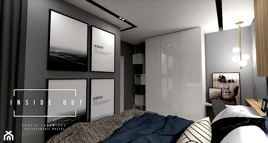 Mieszkanie na Osiedlu Maciejka - Średnia szara czarna sypialnia małżeńska, styl nowoczesny - zdjęcie od INSIDE OUT Dorota Lubowicka Projektowanie Wnętrz