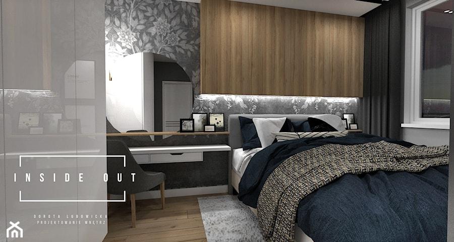 Mieszkanie na Osiedlu Maciejka - Mała szara czarna sypialnia małżeńska, styl skandynawski - zdjęcie od INSIDE OUT Dorota Lubowicka Projektowanie Wnętrz
