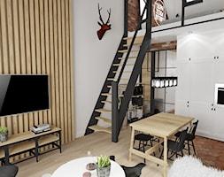 MINI LOFT • mieszkanie z antresolą. - Średni szary salon z kuchnią z jadalnią, styl industrialny - zdjęcie od PO.MYSŁ
