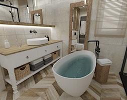 RUSTIC • projekt łazienki. - Średnia łazienka w bloku w domu jednorodzinnym z oknem, styl rustykalny - zdjęcie od PO.MYSŁ