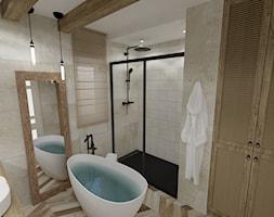 RUSTIC • projekt łazienki. - Średnia szara łazienka w bloku w domu jednorodzinnym z oknem, styl rustykalny - zdjęcie od PO.MYSŁ