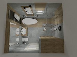 RUSTIC II • projekt łazienki. - Mała łazienka w bloku w domu jednorodzinnym z oknem, styl rustykalny - zdjęcie od PO.MYSŁ