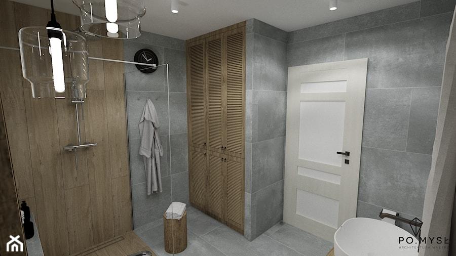 RUSTIC II • projekt łazienki. - Średnia łazienka w bloku w domu jednorodzinnym bez okna, styl rustykalny - zdjęcie od PO.MYSŁ