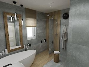 RUSTIC II • projekt łazienki. - Średnia łazienka w bloku w domu jednorodzinnym z oknem, styl rustykalny - zdjęcie od PO.MYSŁ