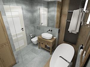 RUSTIC II • projekt łazienki. - Średnia szara łazienka w bloku w domu jednorodzinnym bez okna, styl rustykalny - zdjęcie od PO.MYSŁ