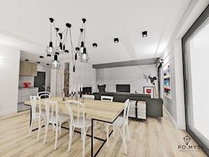 SCANDI! • dom w Rogoźniku. - Średnia otwarta biała jadalnia w kuchni w salonie, styl skandynawski - zdjęcie od PO.MYSŁ