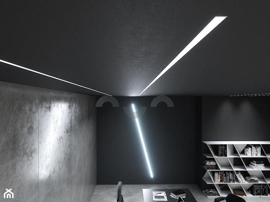 Nowoczesne Industrialne Biuro Z Oświetleniem Led Na ścianie