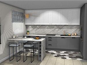 Kuchnia szara - Średnia beżowa kuchnia w kształcie litery l w aneksie z oknem, styl eklektyczny - zdjęcie od Mega Design Agnieszka John