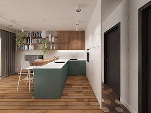 ŻELAZNA - Mała otwarta wąska biała kuchnia w kształcie litery u w aneksie z oknem - zdjęcie od SOJKA & WOJCIECHOWSKI