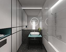 ŻELAZNA - Mała czarna szara łazienka w bloku w domu jednorodzinnym bez okna - zdjęcie od SOJKA & WOJCIECHOWSKI