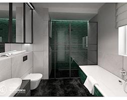 KAZIMIERZOWSKA - Średnia szara zielona łazienka w bloku w domu jednorodzinnym z oknem - zdjęcie od SOJKA & WOJCIECHOWSKI