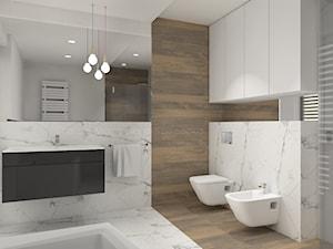 Nowoczesna łazienka - Średnia biała łazienka w bloku w domu jednorodzinnym z oknem, styl nowoczesny - zdjęcie od ACREATIVA Architektura wnętrz