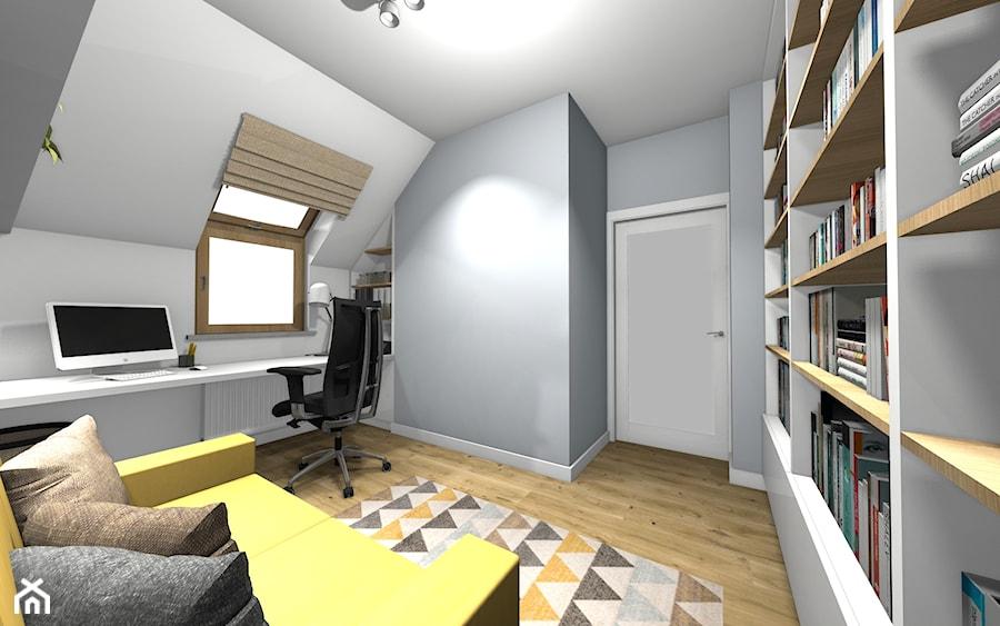 Dom w stylu skandnawskim / Gabinet domowy na poddaszu z funkcją pokoju gościnnego - zdjęcie od HABITAT DESIGN Magdalena Ślusarczyk