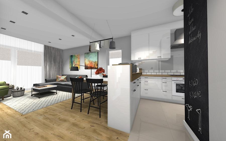 Dom w stylu skandnawskim / Salon z kuchnią - zdjęcie od HABITAT DESIGN Magdalena Ślusarczyk