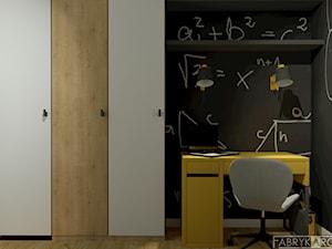 Pokój dla chłopca - Mały szary czarny pokój dziecka dla chłopca dla dziewczynki dla ucznia dla nastolatka, styl nowoczesny - zdjęcie od Fabryka Architektury Ewa Czerwińska