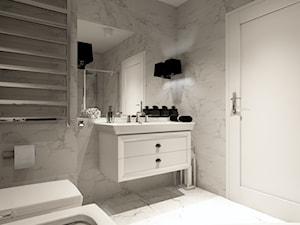 Domek w Darłowie - Mała szara łazienka w bloku w domu jednorodzinnym bez okna, styl nowoczesny - zdjęcie od AS studio