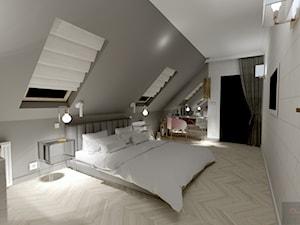 Sypialnia - Duża szara czarna sypialnia małżeńska na poddaszu, styl nowoczesny - zdjęcie od AS studio