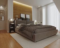 Sypialnia w stylu skandynawskim z nuta glamour - Średnia biała sypialnia małżeńska na poddaszu z balkonem / tarasem, styl skandynawski - zdjęcie od archwiz-ok