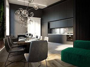 Mieszkanie w kamienicy w Łodzi - Średnia otwarta szara jadalnia w kuchni w salonie, styl nowoczesny - zdjęcie od Visual Performers