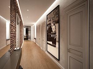 Mieszkanie w kamienicy w Łodzi - Duży szary hol / przedpokój, styl minimalistyczny - zdjęcie od Visual Performers